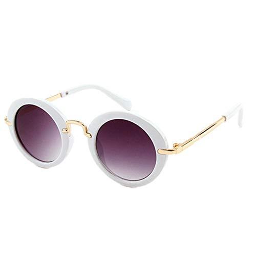 Vintage Retro Runde Baby Jungen Mädchen Kinder Leopard Sonnenbrille Shades Uv400 Kinder Sonnenbrille Goggle UV400 - Weiß