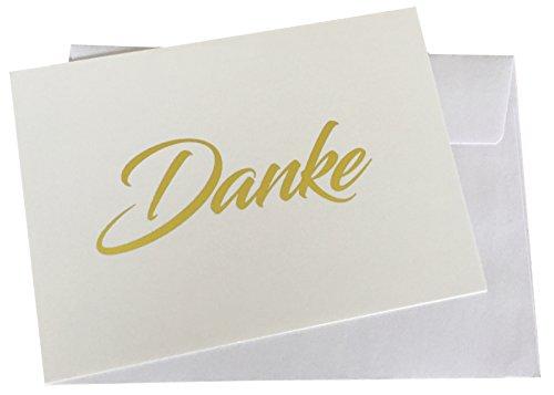 10 hochwertige Dankeskarten, Goldfolienschrift (keine Druckfarbe), goldene Heißfolienprägung und 10 hochwertige, haftklebende Umschläge. Danke sagen, Hochzeit, Geburt, Baby, Taufe, Geburtstag, Jubiläum