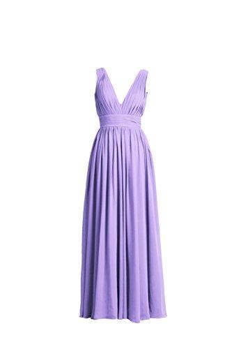YiYaDawn Langes Schlichtes Abendkleid Partykleid Brautjungfernkleid für Damen Lavendel