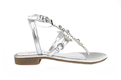scarpe donna APEPAZZA sandali argento pelle AK625 (36 EU)