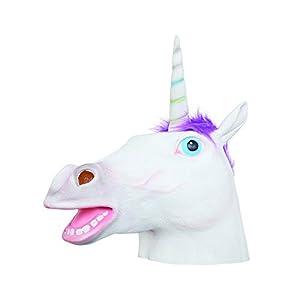 Bristol BM549 - Máscara de unicornio (látex, para hombre, mujer, color blanco, morado, talla única)