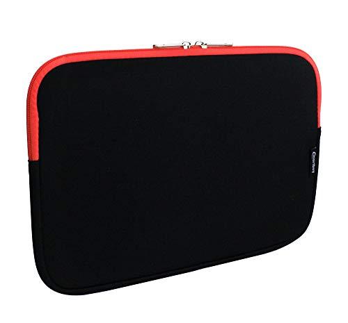 emartbuy Jet Schwarz/Rot Wasserdicht Neopren Soft Zip Case Cover Hülle 12.5-14.1 Zoll Kompatibel Mit Ausgewählte Geräte Unten Aufgeführt - Unten Tasche