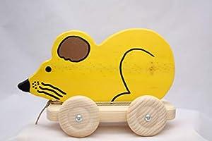 Los Juguetes del Queyras-Figura ratón Madera Amarillo con Ruedas