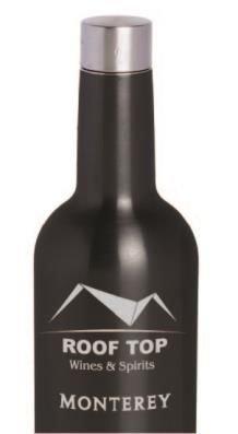 Wein Flasche Triple-Wand Fläschchen, schwarz Emaille über Edelstahl -