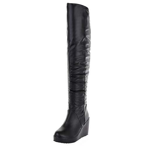 AIYOUMEI Damen Runden Zehen Keilabsatz Overknee Stiefel mit 9cm Absatz Winter Langschaftstiefel Wedge Schuhe