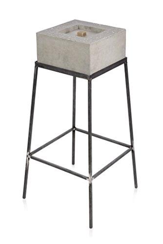 Beske-Manufaktur Betonfeuer inklusive Ständer und Nachfüllwachs im Komplettset   Rundum sorglos Paket   Größe des Betonfeuers 24x24x13cm   Höhe des Ständers 60cm   20 Wachsplatten inklusive