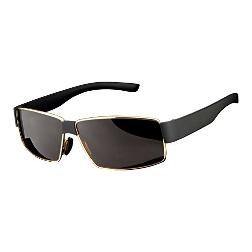 HDCRAFTER cool Hommes lunettes de soleil polarisante en plastique Or