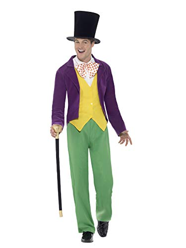 Smiffys 42850L - Herren Willy Wonka Kostüm, Größe: L, mehrfarbig (Willy Wonka Kostüm Damen)