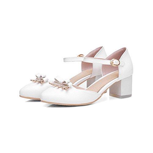 VogueZone009 Femme à Talon Correct Couleur Unie Matière Mélangee Rond Chaussures Légeres Blanc