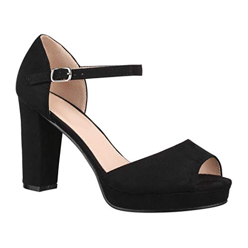 Elara Damen Pumps | Bequeme Peep-Toe Pumps | Trendige Plateau High Heels | Chunkyrayan 8116 Black-41