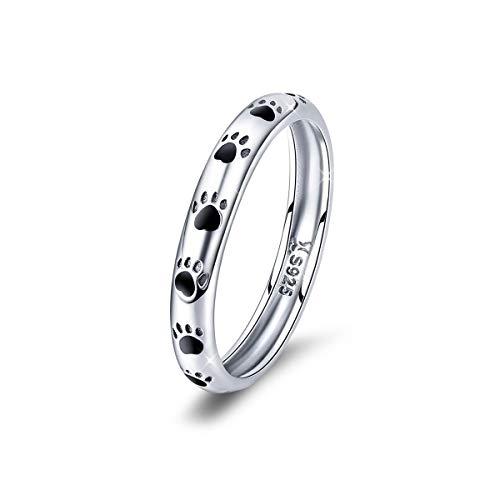 Anello a forma di zampa di cane, in argento Sterling 925, impilabile, ideale come regalo di Natale o di compleanno per donne e ragazze e Argento, 11, cod. HR445-6