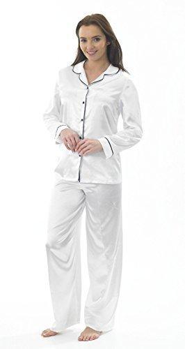 Satin Femmes Soie Manches Longues Set Pyjama Blanc