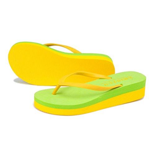 Shangxian Verde Donne Pantofole Sandalo Skid Cuneo Colore Tw7xqR7