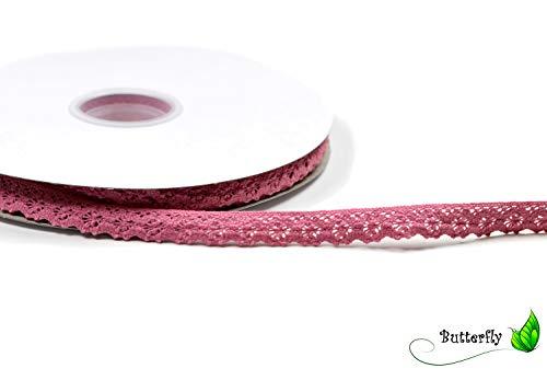 Creativery 25 m Punte 15 mm Cotone Pizzo Bande Fiori Rose Colore Rosa Antico