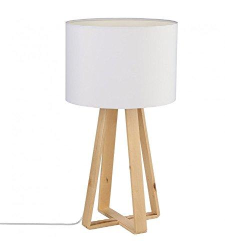 Lampe à poser avec pied en bois naturel - Style Nordique - Coloris BLANC