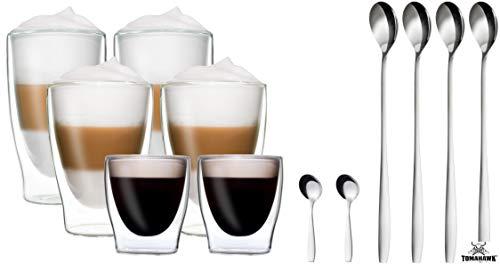 Creano vetro per caff/è//tea set di 6 grandi vetri termici a doppia parete 250 ml DG-Hoch set di 6 bicchieri in vetro borosilicato resistente al calore