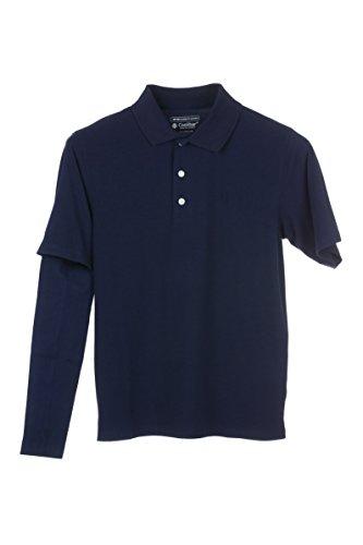 Coolibar Herren Cabrio kurzarm Polo-Shirt, Weiß oder Marineblau, UV-Schutz UPF 50 S/M/L/XL Blau - Navy