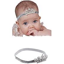 PICCOLI MONELLI Corona principessa neonata coroncina bambina a fascia per capelli elegante battesimale colore argento