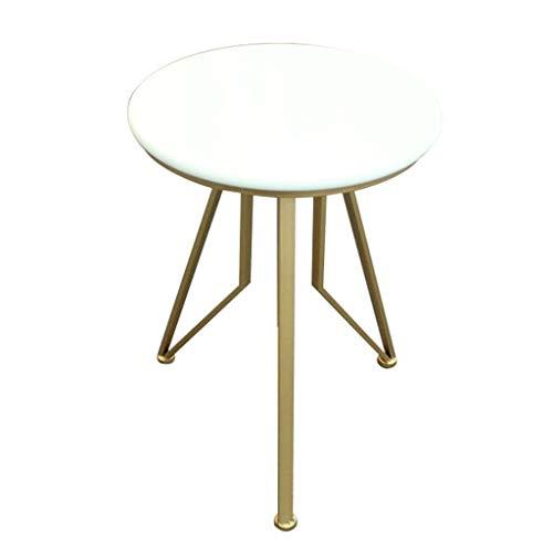 ZHJ-table Kleiner Runder Tisch des WeißEn Marmors FüR Wohnzimmerschlafzimmerseite des Schlafzimmers Schmiedeeisen