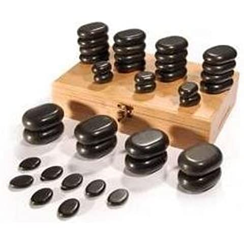 Hot Stones - 36 Piece Basalt Stone Essential Box Set for Massage by Massage Tables
