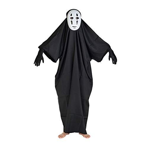 LQZ(TM) Halloween Kostüm Anzug Kawaii Ohngesichter Noface Mann Horror Party Cosplay Karneval für Erwachsen Junge Mädchen inkl. Maske Kleid - Chihiros Reise Ins Zauberland Chihiro Cosplay Kostüm