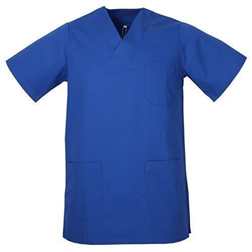 MISEMIYA - Medizinische Uniformen Unisex Top Krankenschwester Krankenhaus Berufskleidung - Large, T-Shirt Hemd - Blau