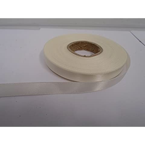 1 rotolo di nastro di raso 10 millimetri x 25 metri, avorio, doppia faccia, 10 mm 10mm