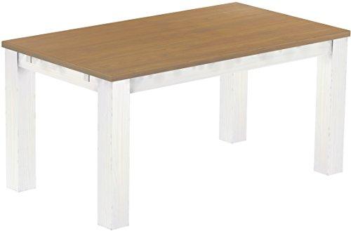 Brasilmoebel Esstisch Rio Classico 160 x 90 cm - Pinie Massivholz Eiche natur - Weiß - in 27 Größen und 50 Farben - über 1000 Varianten - Echtholz...