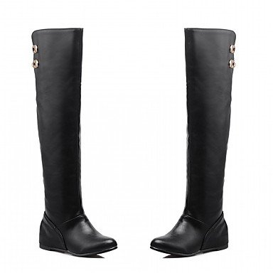Pu Knee Boot (Guccing Women's Shoes PU Leatherette Winter Comfort Novelty Fashion Boots Boots Round Toe Over The Knee Boots Buckle For Party & Evening Dress,Black,US5 / EU35 / UK3 / CN34)