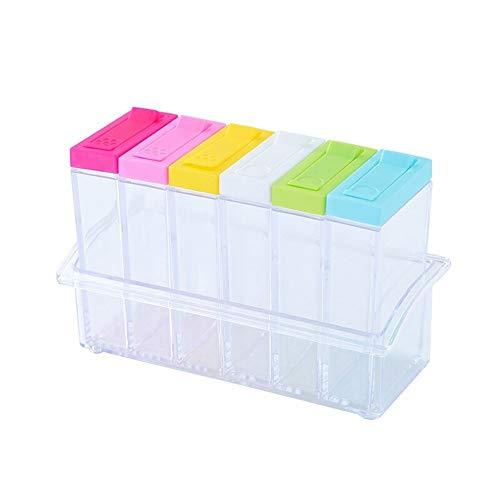 MUTANG Haushalts-Gewürzdosen-Set Küche Würzflasche Kombination mit Deckel, transparent transparent Kunststoff Gewürzdose Gewürzflasche Set von 6 - Mini-plastik-mason Jars