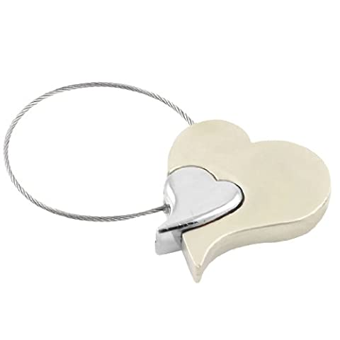 Zinc Alloy Double Hearts Skipping Rope Keychain Key Ring Ornament