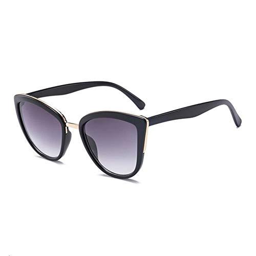 Sonnenbrille-Frauen-Weinlese-Steigungs-Gläser Retro- Katzenauge-Sonnenbrille-weiblicher Eyewear UV400. (Lenses Color : C2BlackGray)