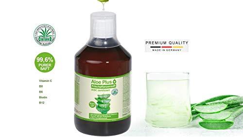 Aloe Vera Trinkgel 99.6% PURER SAFT mit Vitamin C, B5, B6, Biotin, B12, ISAC zertifiziert I Aloe Vera Trinkgel 500 ml I Nahrungsergänzung I Premium Qualität | Aloe Plus von Secret Essentials