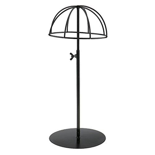 perfk Metall Universal Hutständer Perückenständer Höhenverstellbar Hut Mütze Perücke Halterung Standplatz - Schwarz