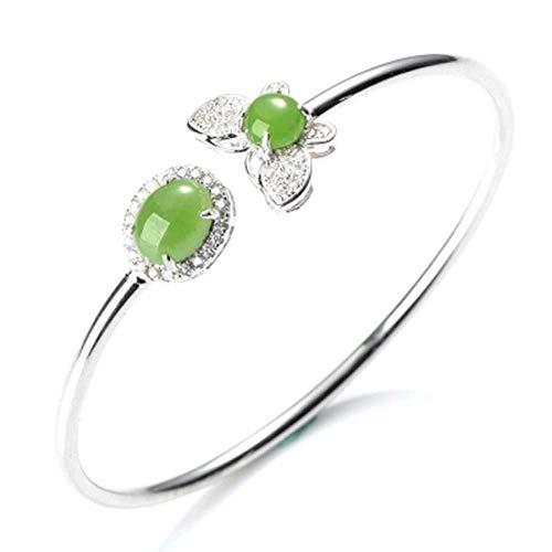 Hetian JaJa925 Silver Lnlaid Fashion Diamond Bracelet Gift