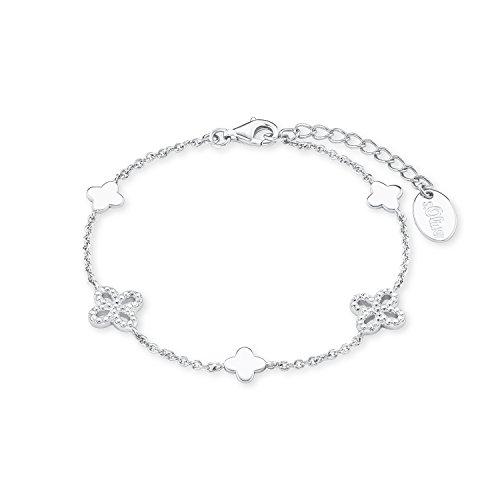 s.Oliver Damen-Armband 17+3 cm Blume 925 Silber rhodiniert Zirkonia weiß 20 cm 2015168