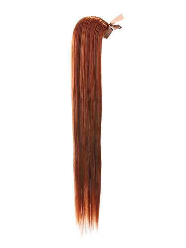 Prettyland 60cm statico-libero lunghi extension per capelli coda di cavallo treccia lisci con clip-in posticcio rosso rame r01