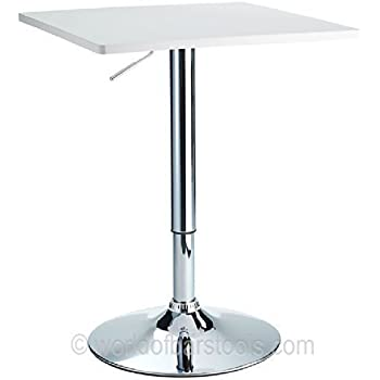 London Adjustable Bar Table White