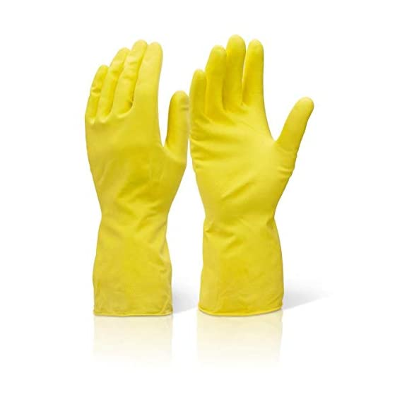 SCHOFIC Reusable Hand Care Flocklined Household Rubber Hand Gloves/Kitchen Gloves For Dishwashing/Cleaning/Lab Work/Electricity Work/Gardening (10)