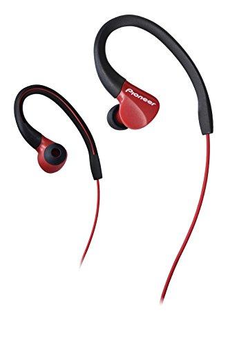 Pioneer SE E3 R   Auriculares Deportivo (Resistente al Agua IPX 2, Clips Ajustables) Color Rojo