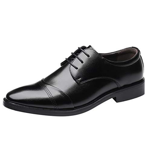 FNKDOR Schuhe Herren Klassisch Lederschuhe Atmungsaktiv Businessschuhe Lace-up Berufsschuhe Hochzeit Bankett Elegant Anzugsschuhe(38-45) Schwarz 43 EU