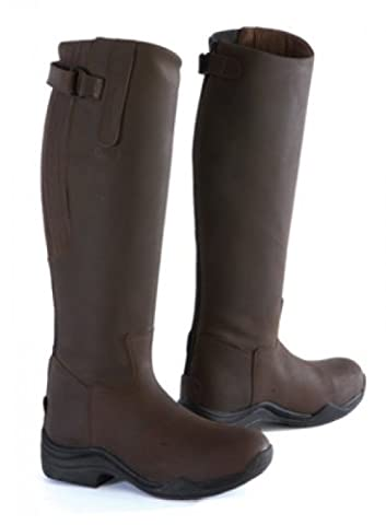 Toggi Calgary Long Leather Riding Boot With Full Zip, Wide Leg Fitting, In Cheeco Brown, Size: 7 (EU