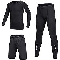 BUYKUD Kids' Boys 3PCS Long Sleeve Base Layer Compression Athletic Shirt Tights Top & Bottom Underwear Sports Set