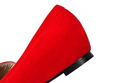 VogueZone009 Femme à Talon Bas Matière Souple Tire Rond Chaussures Légeres Rouge
