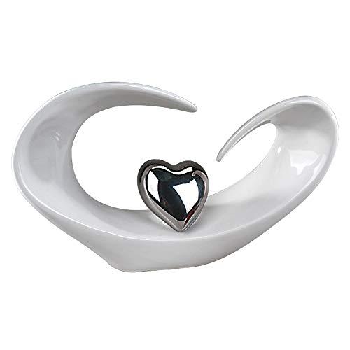 Moderne Skulptur in Form eines Herzens aus Keramik in weiß/silber 31x18cm -