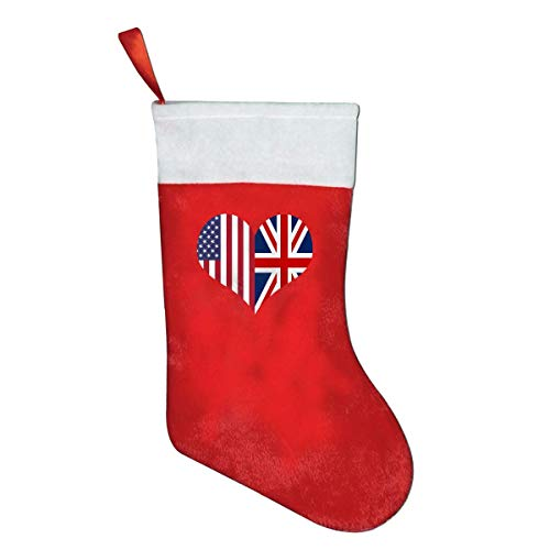 sh American Flag Heart Personalized Christmas Stocking, Santa Winter Wonderland Decorations Ornaments grey socks ()