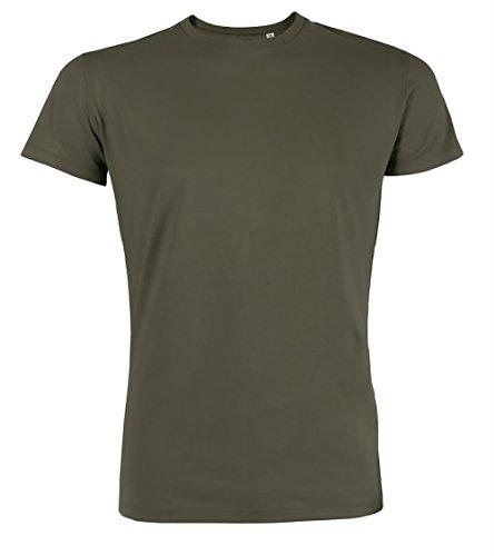 Herren Rundhals Tshirt aus 100% Bio-Baumwolle- in diversen Farben Schwarz und Weiß bis 2XL - organic, Herren Bio Shirt, Herren Bio T-Shirt auch in 2er Pack Khaki
