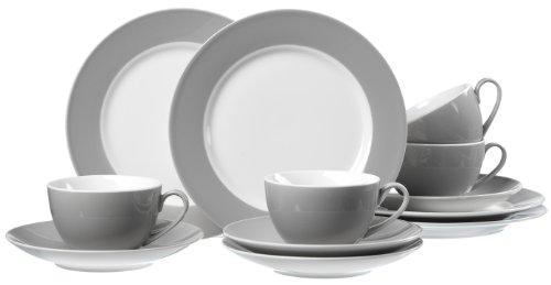 Ritzenhoff & Breker Kaffeeservice Doppio, 12-teilig, Porzellangeschirr, Grau