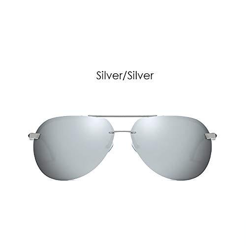 LDQLSQ Männer Metallrahmen polarisierte Sonnenbrille explosionsgeschützte Bunte Klassische Brille a143 polarisierte treibende Sonnenbrille,Silver