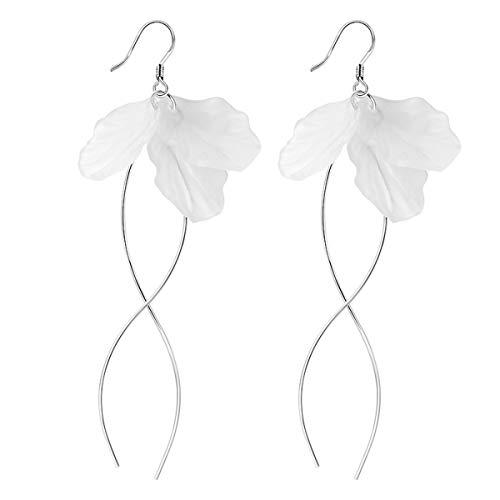 WFYJY-Schlank Ewige Blütenblätter Reinem Silber-Ohrringe Temperament Einfache Persönlichkeit Liebhaber Von Ohrringen Lange Zubehör Geschenke -